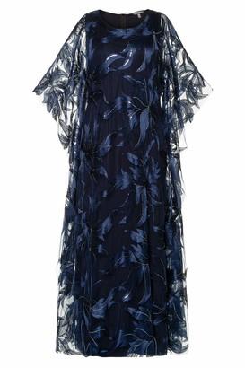 Ulla Popken Women's Plus Size Sequin Accent Embroidered Layer Event Maxi Dress Violet Blue Multi 46+ 751152 70-46+
