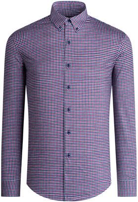 Bugatchi Men's Check Long-Sleeve OoohCotton Tech Sport Shirt