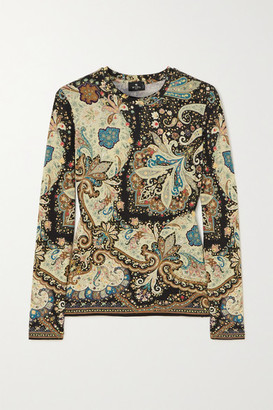 Etro Cropped Paisley-print Stretch-jersey Top - Green