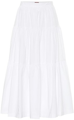 STAUD Sea cotton poplin midi skirt