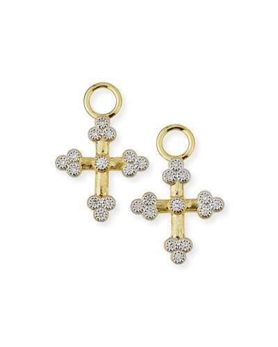 Jude Frances Provence 18K Tiny Cross Earring Charms with Diamonds