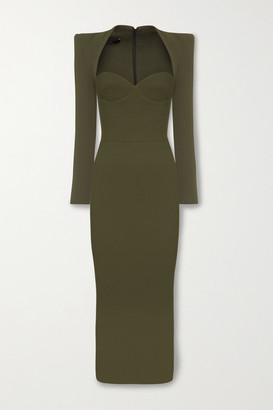 Alex Perry Ambrose Crepe Midi Dress - Army green