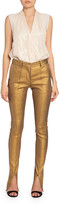 Victoria Beckham Metallic Slit-Cuff Tuxedo Trousers