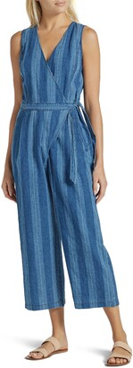 Joie Xenia Stripe Linen & Cotton Wide Leg Crop Jumpsuit