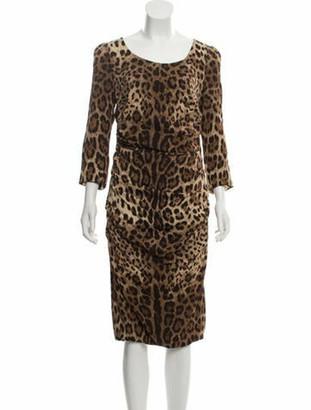 Dolce & Gabbana Animal Print Midi Dress w/ Tags Brown