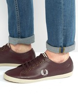 Fred Perry Kingston Leather Trainers In Brown