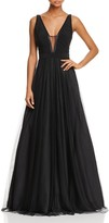 Aidan Mattox Deep V-Neck Ball Gown