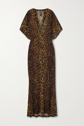 Norma Kamali Obie Leopard-print Stretch-jersey Maxi Dress - Leopard print