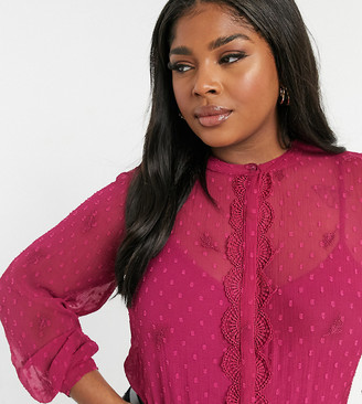 Junarose sheer flock spot blouse in pink