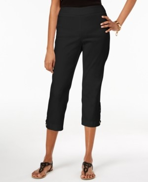 JM Collection Petite Crochet-Applique Capri Pants, Created for Macy's