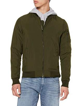 Build Your Brand Men's Nylon Bomber Jacket,Small