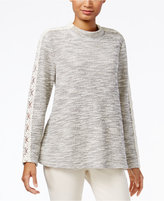 Style&Co. Style & Co Petite Lace-Trim Marled Knit Top, Only at Macy's