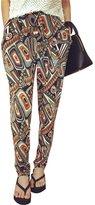 Yaheeda Women's Casual Print Flower Elastic Waistband Wide Leg Narrow Feet Long Chiffon Pants Trousers