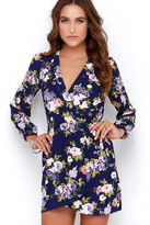 LuLu*s That's a Wrap Navy Blue Floral Print Dress