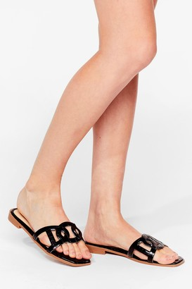 Nasty Gal Womens Take Us Cut-Out Faux Suede Flat Sandals - Black