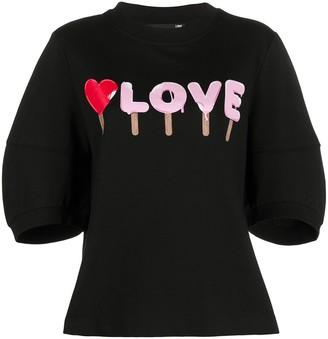Love Moschino Love puff-sleeves T-shirt