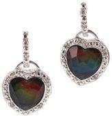 NEW KORITE Ammolite Diamond Heart 14 KT White Gold Dangle Earrings