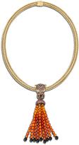 John Hardy Women's Legends Drop Tassle Necklace, 18K Gold, Orange Sapphire, Pave Black Diamond (0.14ct)