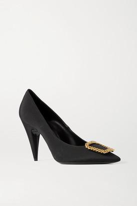 Saint Laurent Saint-sulpice Chain-embellished Faille Pumps - Black