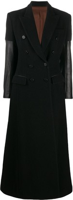 Jean Paul Gaultier Pre Owned 1993 Faux-Leather Sleeves Double-Breasted Coat