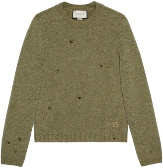 Gucci Felted wool sweater with Square G