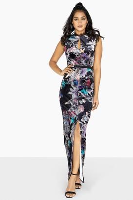 Little Mistress Etta Velvet Floral Column Maxi Dress