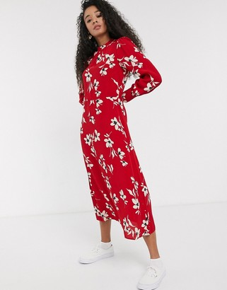 New Look long sleeved floral dress in red pattern