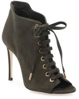 Jimmy Choo Mavy Suede Peep-Toe Lace-Up Booties