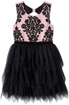 Knitworks Girls 7-16 Flocked Flower Bodice & Tiered Skirt Dress