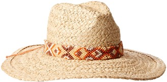 Ale By Alessandra Women's Indio Raffia Braid Hat with Hand Woven Trim and Rated UPF 50+