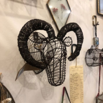 Nkuku Mini Recycled Metal Ram Trophy