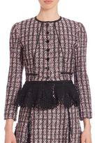 Oscar de la Renta Tweed Crochet Peplum Jacket