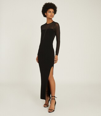 Reiss Sabrina - Maxi Dress With Semi Sheer Panelling in Black