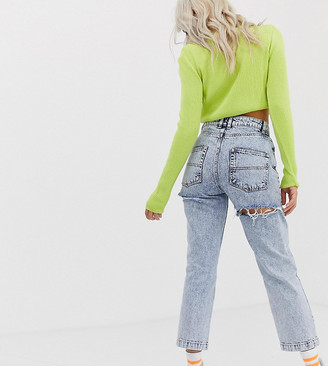Collusion Petite x005 straight leg jeans in acid wash with bum rips