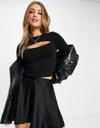 New Look long sleeve cut out detail top in black