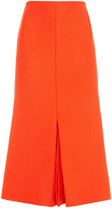 Victoria Beckham Pleated Crepe Midi Skirt