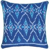 The World In Cushions Biru Blue & Turquoise Ikat Cushion