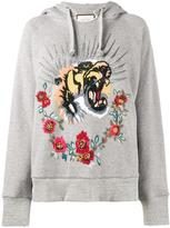 Gucci tiger embroidered hooded sweatshirt