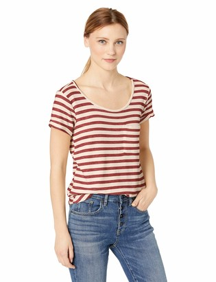 Democracy Women's Short Sleeve ROLL Cuff TEE with Cut Out Back