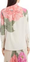 Valentino Camellia Tie Neck Silk Crepe de Chine Blouse