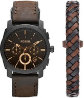 Fossil Fossil Machine Watch and Leather Cuff Mens Gift Set