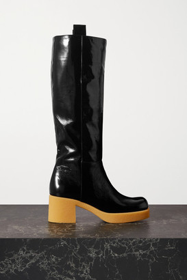 Miu Miu Crinkled Patent-leather Platform Knee Boots - Black