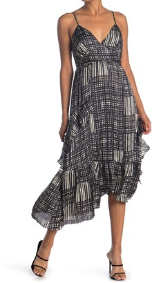 19 Cooper Printed Asymmetrical Hem Midi Dress