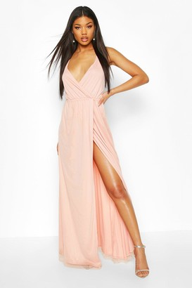 boohoo Plunge Wrap Sequin Maxi Dress