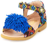 Aquazzura Wild Fringed Two-Strap Sandal, Blue, Toddler