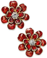 Charter Club Erwin Pearl Atelier for Gold-Tone Red Enamel Flower Earrings, Only at Macy's