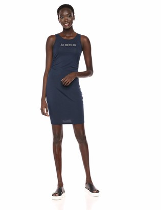 Bebe Women's Sleeveless Logo Dress with Side Shirring