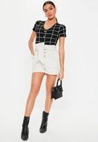 Missguided Petite Black Horn Button Grid Print Bodysuit