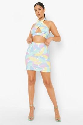 boohoo Pastel Floral Halter Crop & Mini Skirt