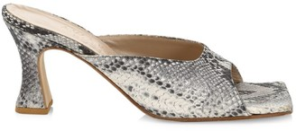 A.W.A.K.E. Mode Marion Snakeskin-Embossed Leather Mules